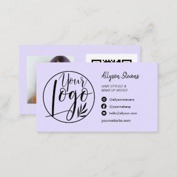 simple lavender hair makeup photo logo qr code business card