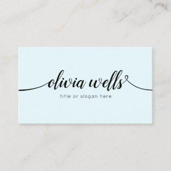 simple light blue handwritten script calligraphy business card