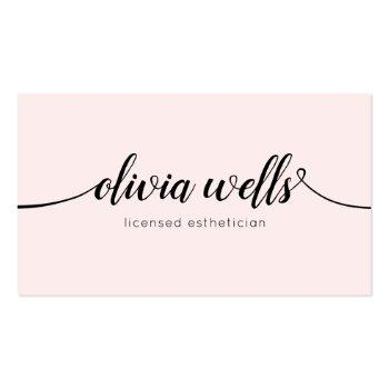 Small Simple Light Pink Handwritten Script Calligraphy Business Card Front View