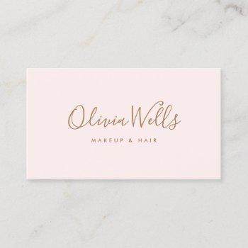simple light pink handwritten script social media business card