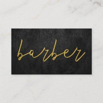 simple luxury black leather barber gold typography business card