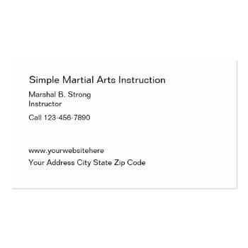 Small Simple Martial Arts Business Cards Back View