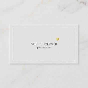 simple minimalist elegant small heart pale gray business card