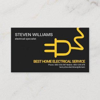 simple minimalist oversize yellow power plug business card
