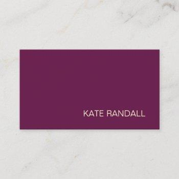 simple modern burgundy maroon professional business card
