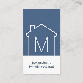 simple modern house blueprint vertical navy blue business card