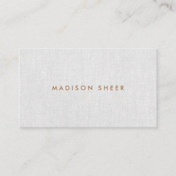 simple modern, light gray linen professional business card
