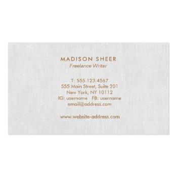 Small Simple Modern, Light Gray Linen Professional Business Card Back View