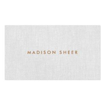 Small Simple Modern, Light Gray Linen Professional Business Card Front View