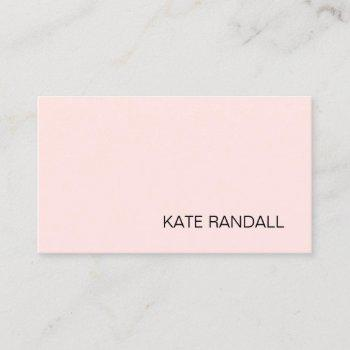 simple modern light pink professional business card