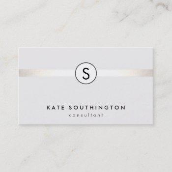 simple modern monogram silver striped white business card