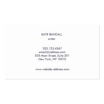 Small Simple Modern Navy Blue Professional Business Card Back View