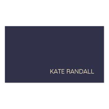 Small Simple Modern Navy Blue Professional Business Card Front View