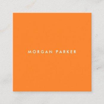 simple modern professional orange square square business card