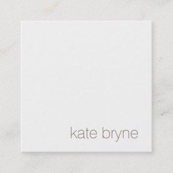 simple modern white professional rose gold back square business card