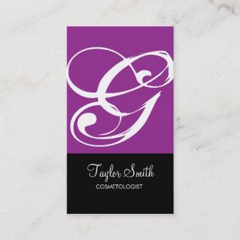 simple monogram business card (purple)