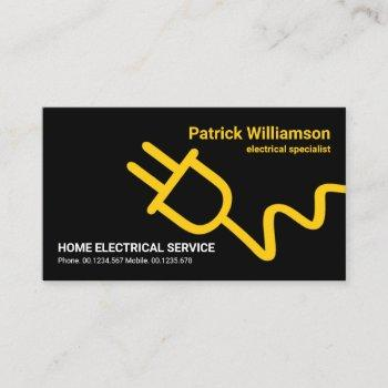 simple oversize bright yellow electric power plug business card