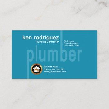 simple oversize plumber signage plumbing business card