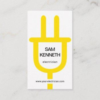 simple oversize yellow power plug electrician business card