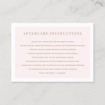 simple pink  aftercare for lash extensions spa business card