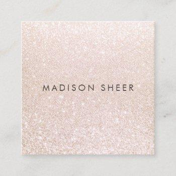 simple pink champagne glitter beauty stylist square business card