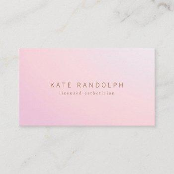 simple pink lavender ombre esthetician business card
