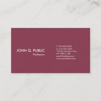simple plain bordeaux white modern professional business card