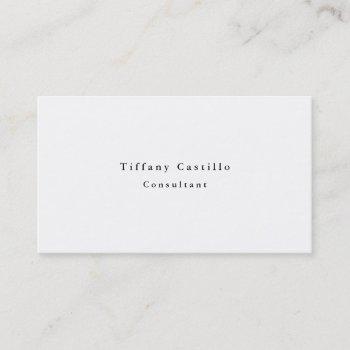 simple plain elegant white minimalist modern business card