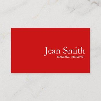 simple plain red massage therapist business card