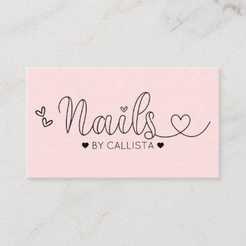 simple pretty pink hearts typography nail tech business card