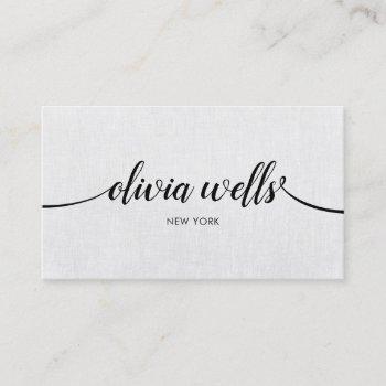 simple professional gray handwritten script business card