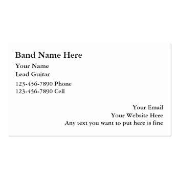 Small Simple Rock Band Business Cards Back View