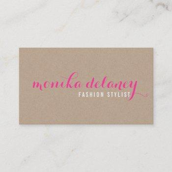 simple script type stylish trendy eco kraft pink business card
