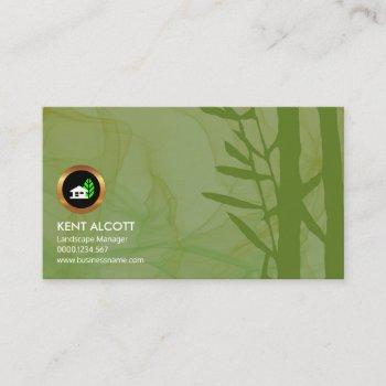 simple smoky green foliage landscape manager business card