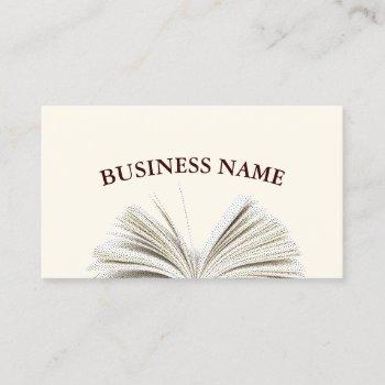 simple stipple opened book business cards