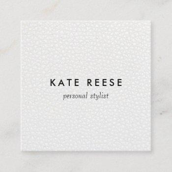 simple stylish white leather professional stylist square business card