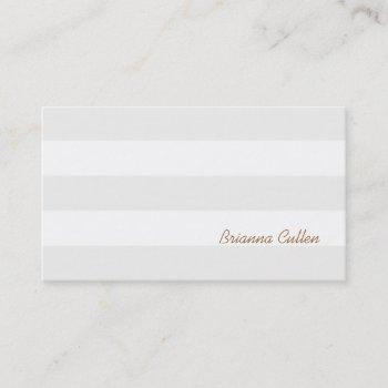 simple subtle neutral striped elegant white business card