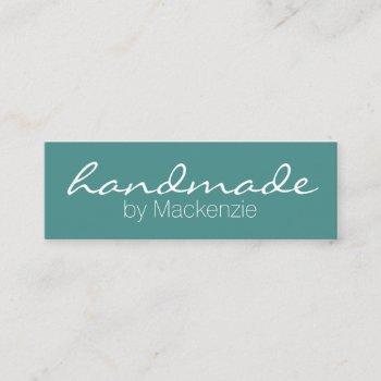 simple teal handmade mini business card