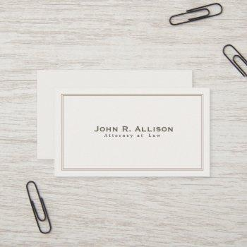 simple traditional attorney ivory professional business card