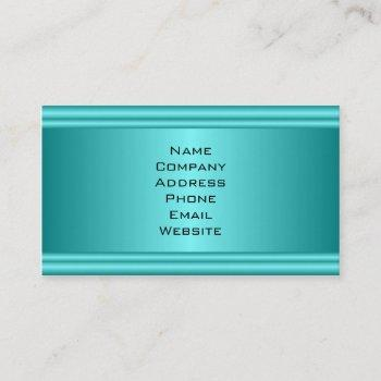 simple turquoise metal look business card