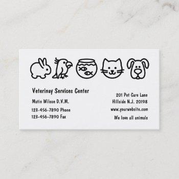 simple veterinarian business cards