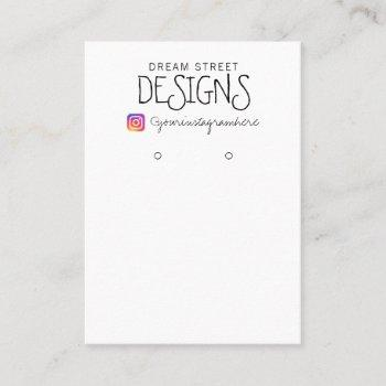simple vintage instagram earring display card