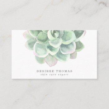 simple watercolor botanical sage green succulent business card