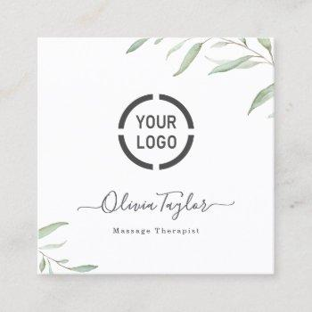 simple watercolor greenery massage therapist square business card