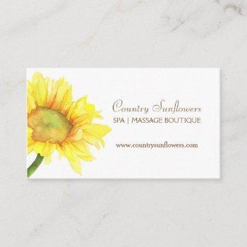 simple watercolor sunflower business cards