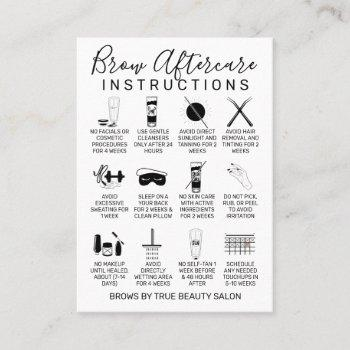 simple white black brows aftercare icon business card
