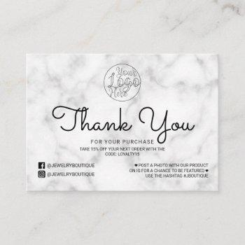 simple white black marble customer thank you business card