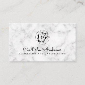 simple white black marble logo business card
