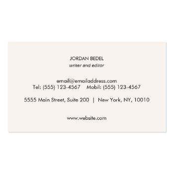 Small Simple White Classic Professional Business Card Back View