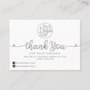 simple white handwritten hearts customer thank you business card